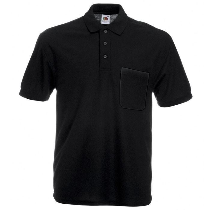 Fruit of the Loom Polo à manches courtes en coton piqué pour homme noir Noir grand iQC39FE4v