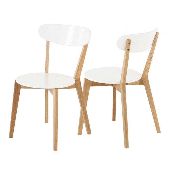 Lot de 2 chaises ch ne et laqu scandie blanc zago la for Meuble zago avis