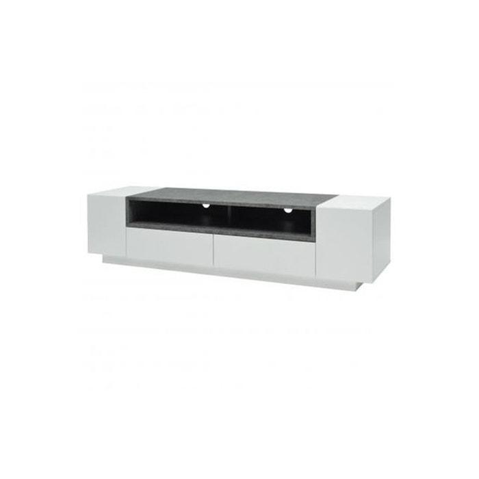 meuble tv 2 portes 2 tiroirs laqu blanc effet b ton babena gris declikdeco la redoute. Black Bedroom Furniture Sets. Home Design Ideas