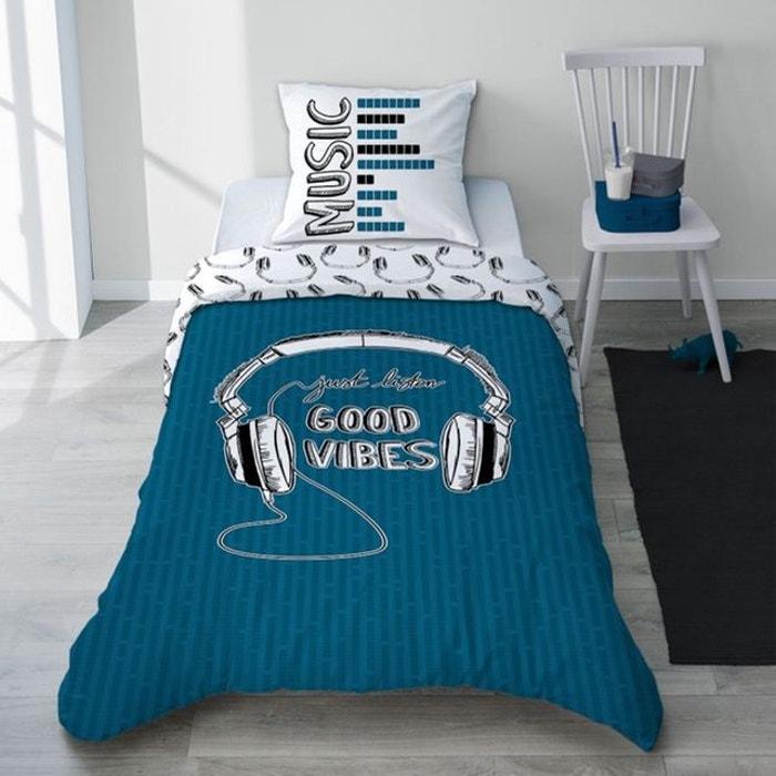 Parure Linge De Lit Rock Noir Et Bleu Casque Ado Garcon Coton Good