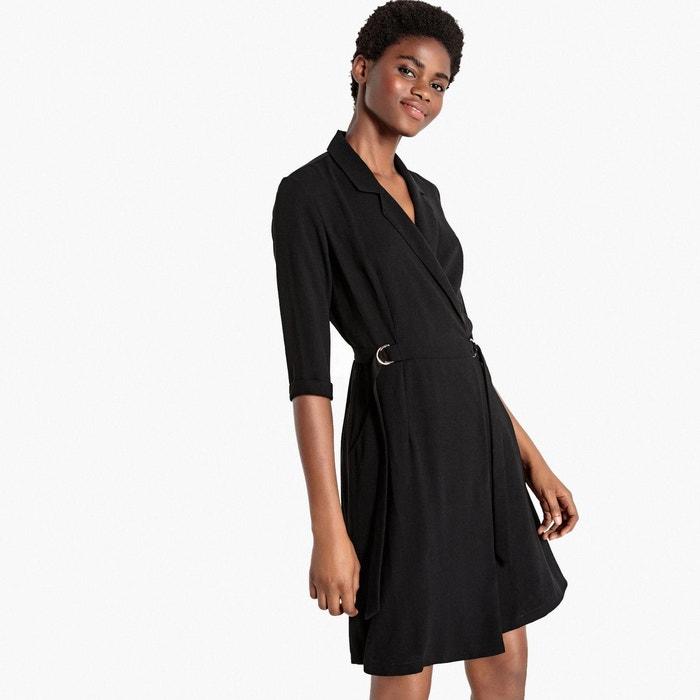 robe portefeuille col tailleur manches coudes noir la. Black Bedroom Furniture Sets. Home Design Ideas