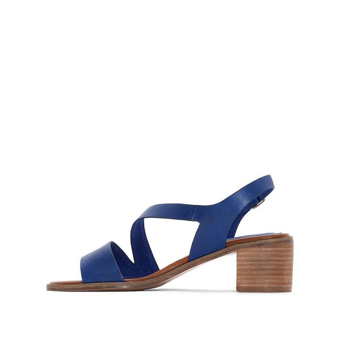 Sandales cuir à talons volubil bleu Kickers