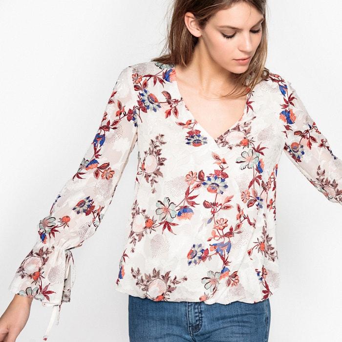 Blusa cruzada, con estampado de flores devoré  La Redoute Collections image 0