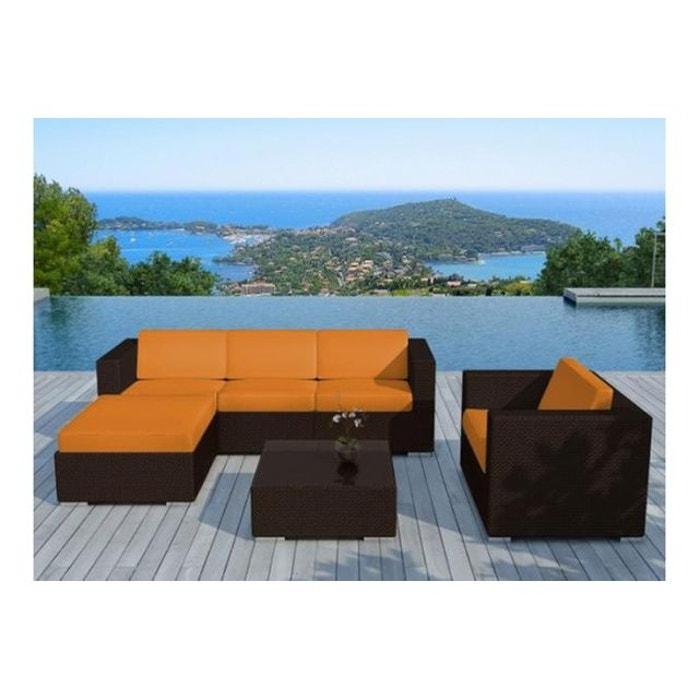Salon de jardin en résine tressée chocolat et orange lagon orange ...