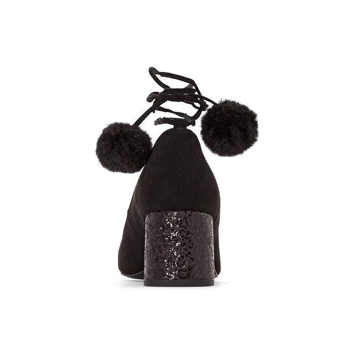Ballerines détail pompons noir La Redoute Collections