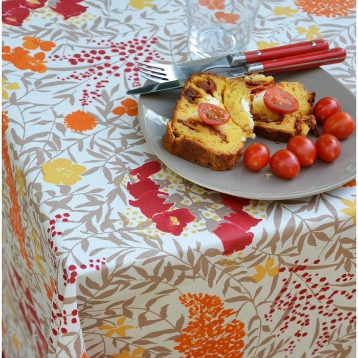 nappe enduite ronde ou ovale mimosa rouge jaune fleur de soleil la redoute. Black Bedroom Furniture Sets. Home Design Ideas