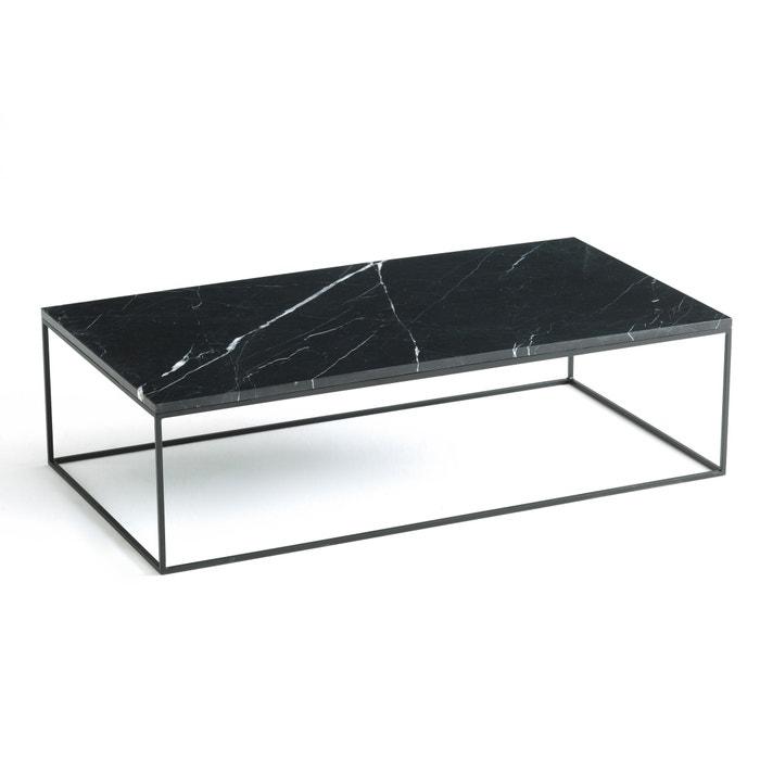 Zwarte Salon Tafel.Rechthoekige Salontafel In Zwart Metaal En Marmer Mahaut