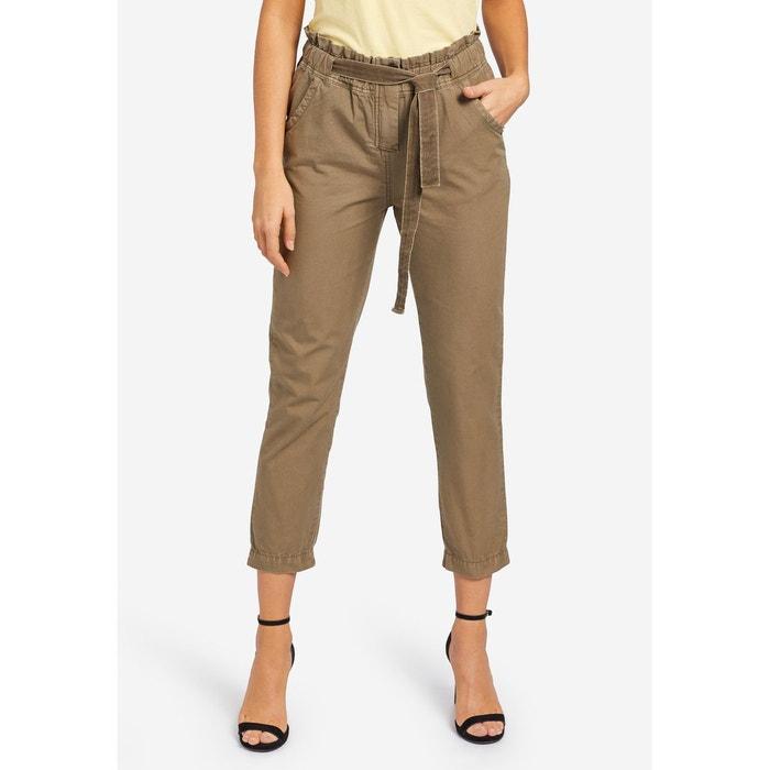 0c81746c3a5384 Pantalon avec taille élastique et ceinture en tissu MAGNALIE