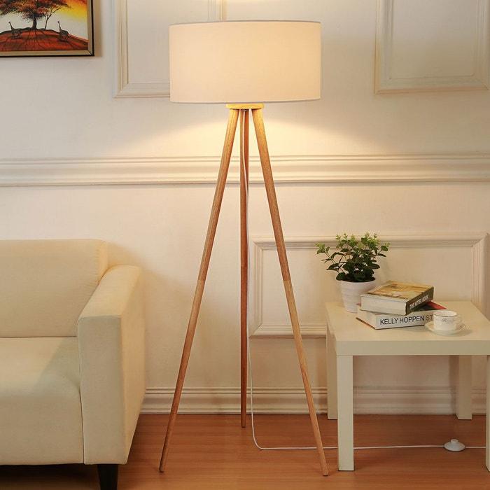 lampadaire tr pied en bois charlia fr ne blanc lampenwelt. Black Bedroom Furniture Sets. Home Design Ideas