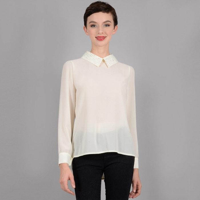 3c8db5244c6bb7 Bluse mit raffiniertem kragen, lange ärmel cremeweiss Molly Bracken | La  Redoute