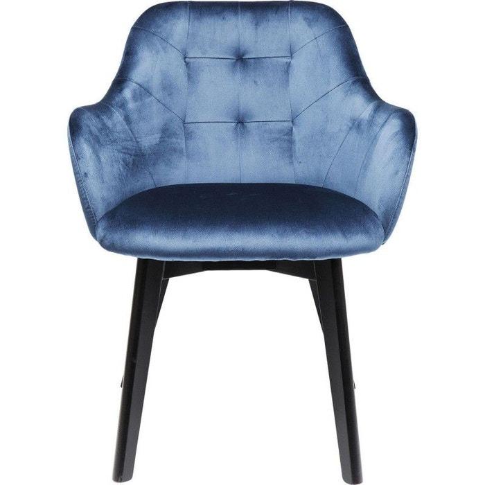 Chaise Avec Accoudoirs Lady Bleu Petrole Pieds Noirs Kare Design