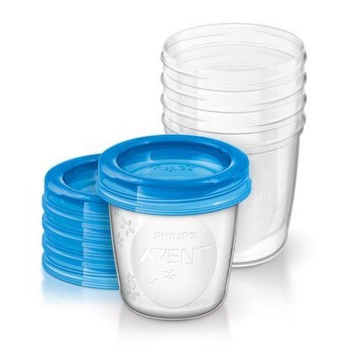 PHILIPS AVENT Le système de conservation pour lait maternel (5 pots de 180 ml avec couvercles)... PHILIPS AVENT