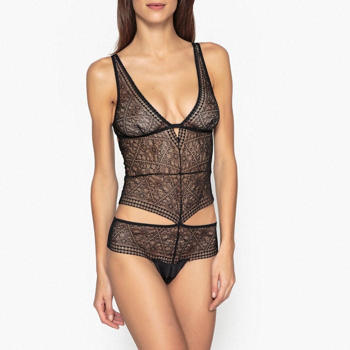 Body sans armatures en dentelle noir La Redoute Collections  06f49293612