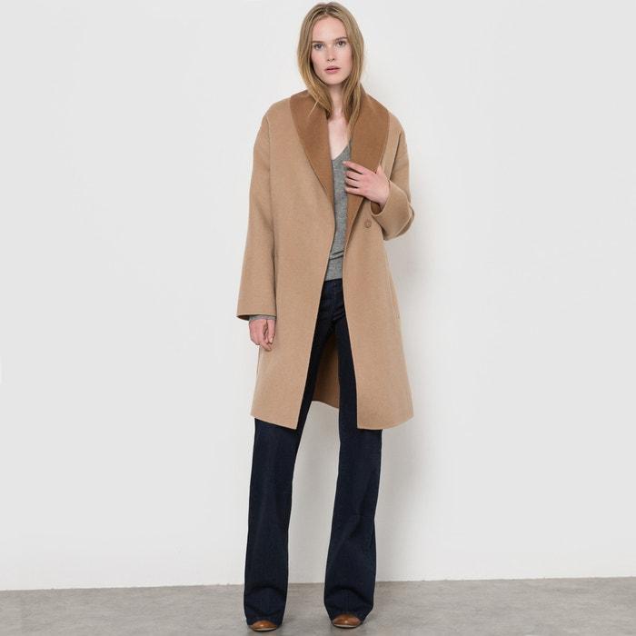 Abrigo con cinturón bicolor, 70% lana  La Redoute Collections image 0
