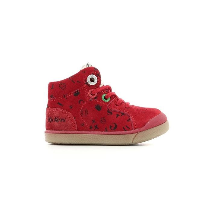 1d7f7e26c7b0c6 Sneakers haute nubuck bébé goodjob rouge Kickers   La Redoute