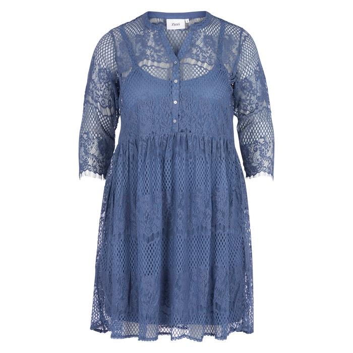 Dress 3/4-length sleeves zizzi blue Zizzi 83W9zl1I6