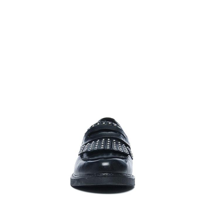 Loafers avec franges et clous noir Sacha