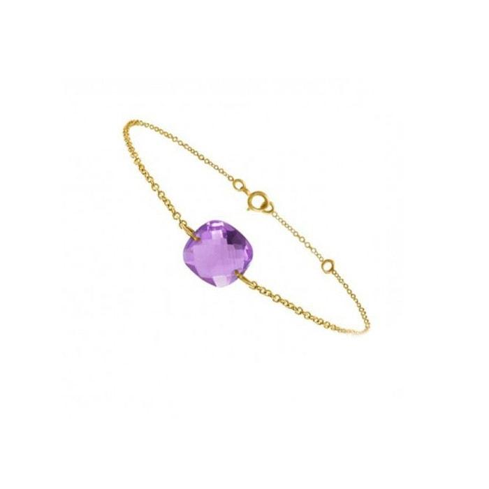 Bracelet chaine or jaune 18 carats et améthyste coussin incroyable De Nombreux Types De X9geFG0oq