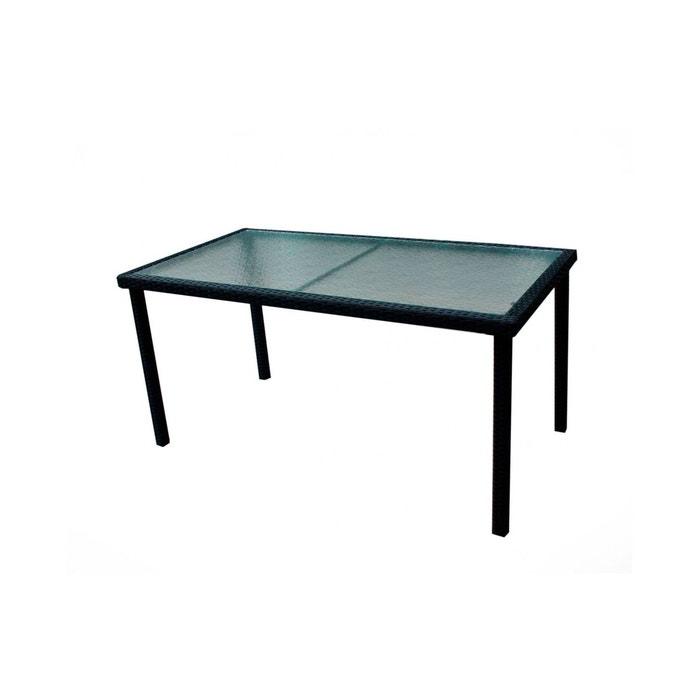 Table de jardin en résine tressée et plateau verre 140 cm noir Wood ...