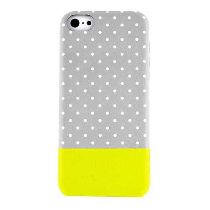 Coque rigide grise et jaune à pois blancs pour iPhone 5C