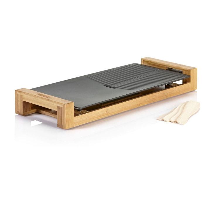 plancha lectrique en fonte d 39 aluminium et bambou chef duo thermostat r glable 50 x 25 cm. Black Bedroom Furniture Sets. Home Design Ideas