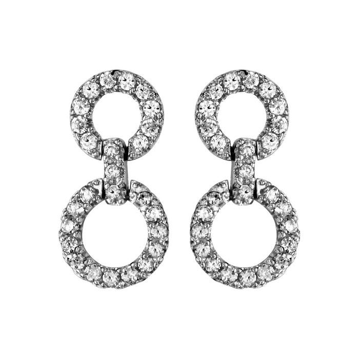 Boucles d'oreilles double anneaux oxyde de zirconium blanc argent 925 couleur unique So Chic Bijoux   La Redoute Livraison Gratuite Meilleure Vente IW2eLt