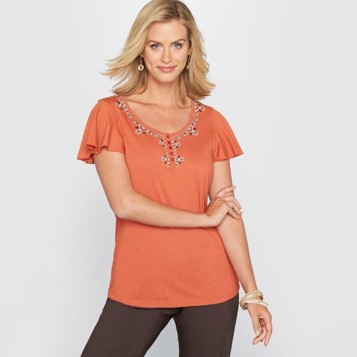 Image T-shirt z bawełny i modalu ozdobiony haftem ANNE WEYBURN