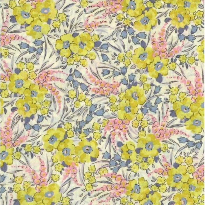 Tissu liberty swirling petals, col. zeste, tutu, gris bleuté jaune ...
