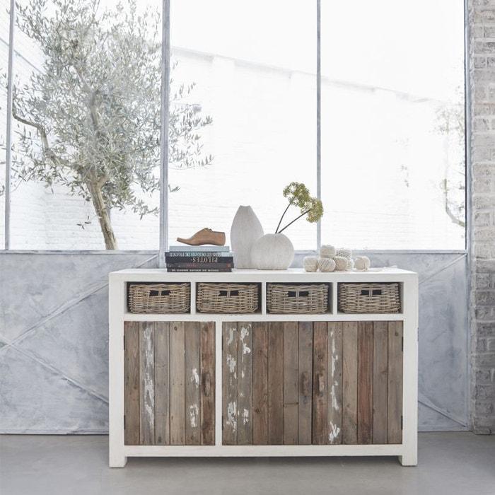 buffet en bois de pin recycl 3 portes 4 tiroirs pin recycl bois dessus bois dessous la redoute. Black Bedroom Furniture Sets. Home Design Ideas