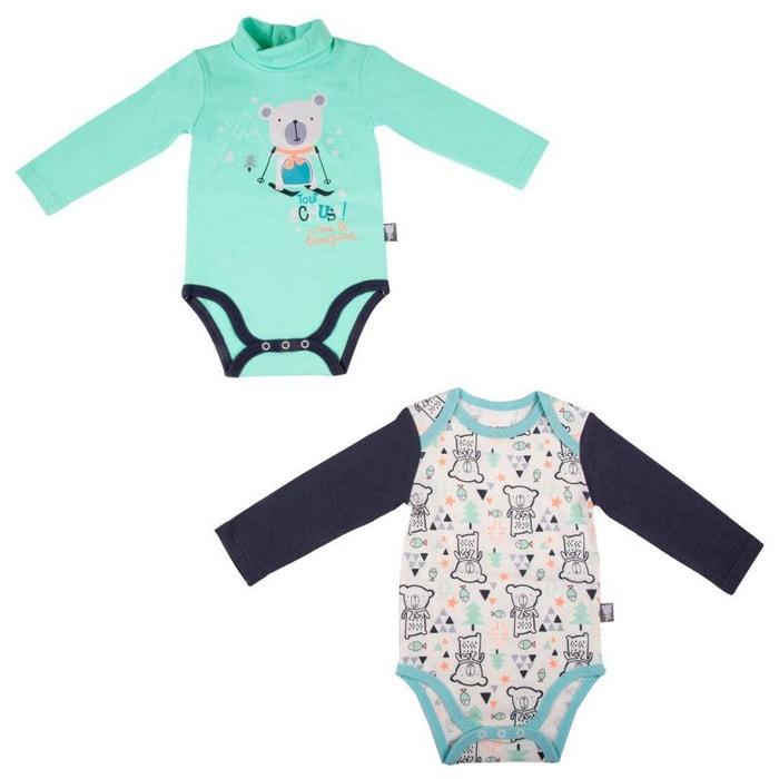 bfa944b0a74c4 Lot de 2 bodies bébé garçon manches longues baby bear multicolore Petit  Beguin
