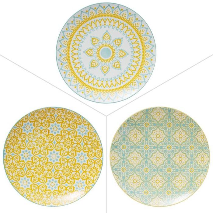 Assiette Plate 27Cm Mikado Porcelaine Assortie (Lot De 6