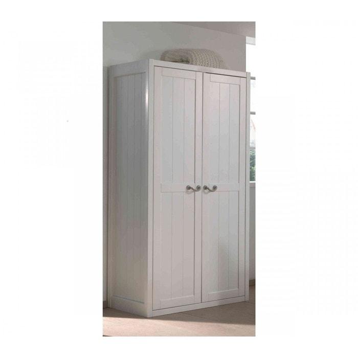 armoire 2 portes bois blanc 100 cm ar2016 blanc terre de nuit la redoute. Black Bedroom Furniture Sets. Home Design Ideas