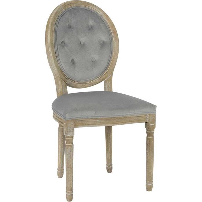 Chaise en bois et velour gris clair gris amadeus la redoute for Chaise bois gris