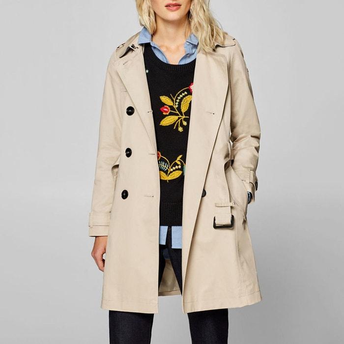 32bddfc6d931 Trench-coat en coton à ceinture Esprit