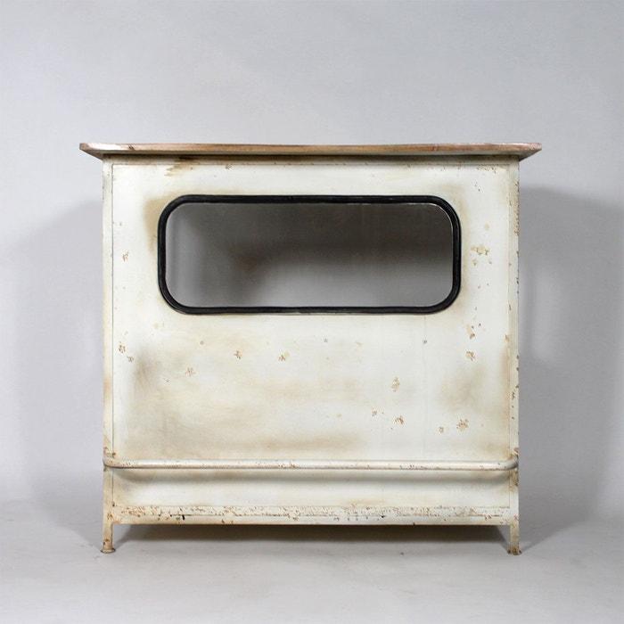 Bar industriel blanc en m tal s539 blanc made in meubles - La redoute meuble industriel ...