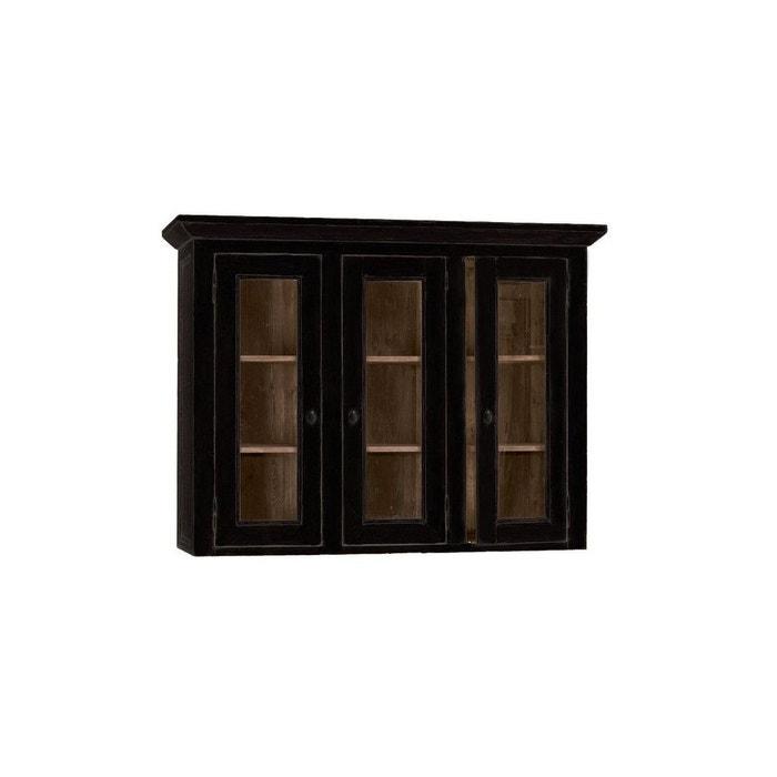 Haut De Buffet Vaisselier Portes Vitrées Noir Interior S La Redoute - Portes vitrées