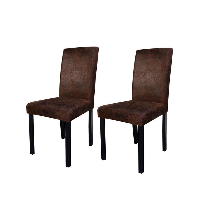 chaise havane marron vieilli lot de 2 marron rendez vous deco la redoute. Black Bedroom Furniture Sets. Home Design Ideas