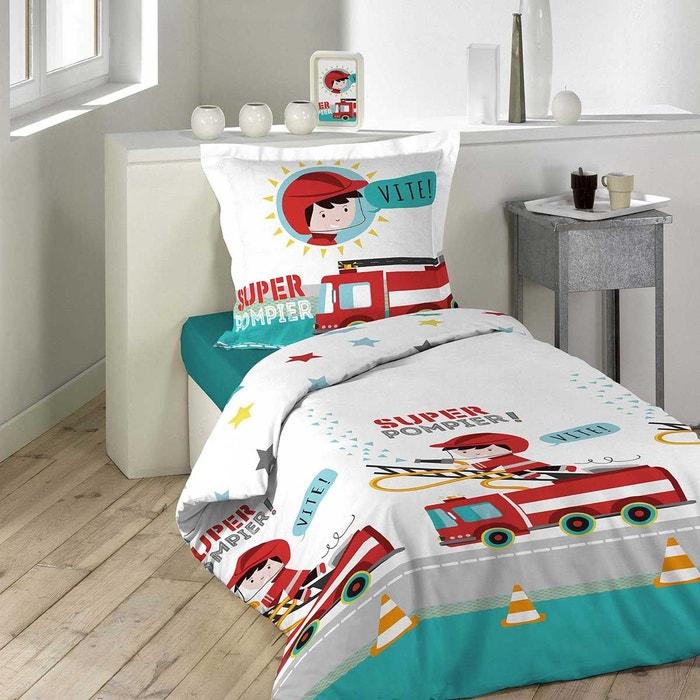 parure de couette enfant camion de pompier multicolore home maison la redoute. Black Bedroom Furniture Sets. Home Design Ideas