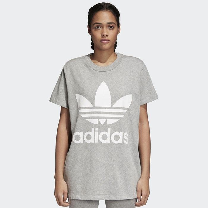 Tee shirt col rond manches courtes imprimé devant gris clair Adidas  Originals  a0d4c38335c