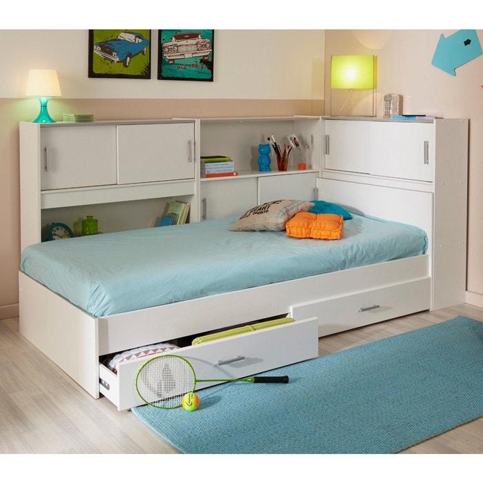 lit enfant 2 tiroirs blanc 90x190 200 environnement de lit blanc terre de nuit la redoute. Black Bedroom Furniture Sets. Home Design Ideas