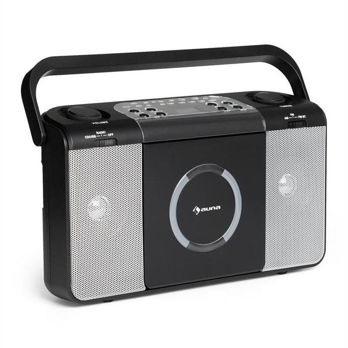 auna boomtown usb poste radio fm et lecteur cd portable mp3 noir auna la redoute. Black Bedroom Furniture Sets. Home Design Ideas
