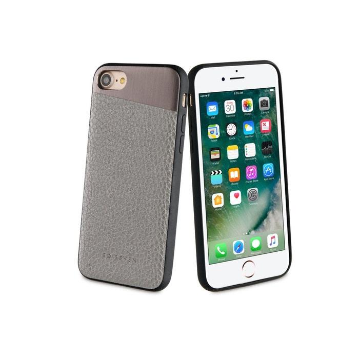 So Seven Metallic Coque Pu + Metal Gris Sideral Apple Iphone 7