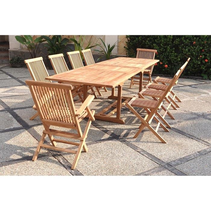 kajang salon de jardin teck massif 10 personnes table rectangulaire 8 chaises 2. Black Bedroom Furniture Sets. Home Design Ideas