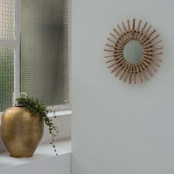 Miroir soleil vintage en rotin naturel 30 cm dino moka bois clair ... 5051c48ecd6b