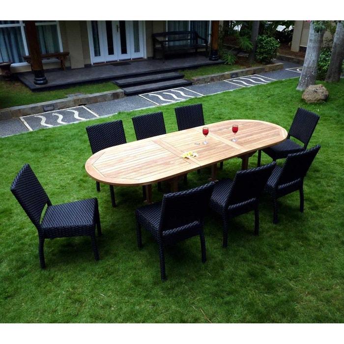 Salon de jardin en teck et résine 8 chaises avec coussins - table ...
