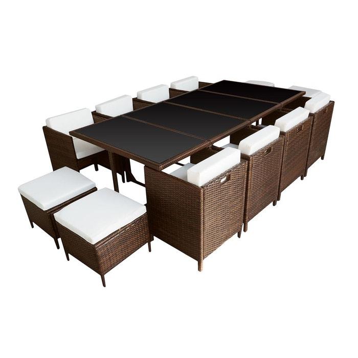 salon de jardin encastrable santorin 12 places marron happy garden la redoute. Black Bedroom Furniture Sets. Home Design Ideas