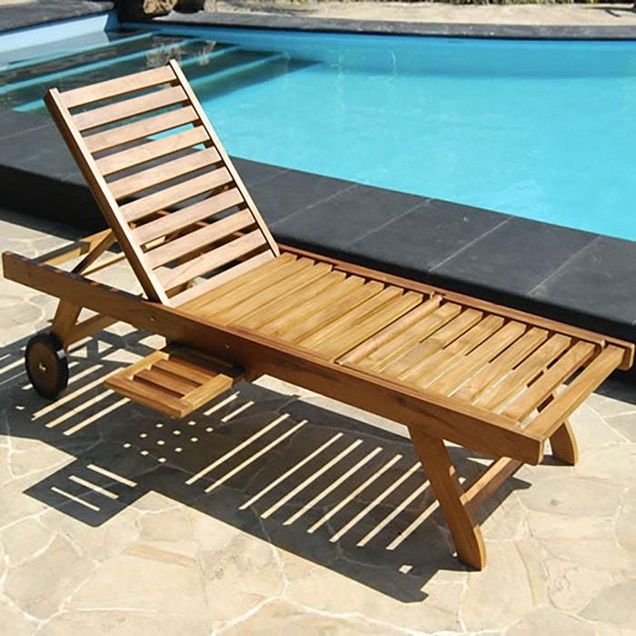 bain de soleil chaise longue en bois de teck huil couleur unique bois dessus bois dessous. Black Bedroom Furniture Sets. Home Design Ideas
