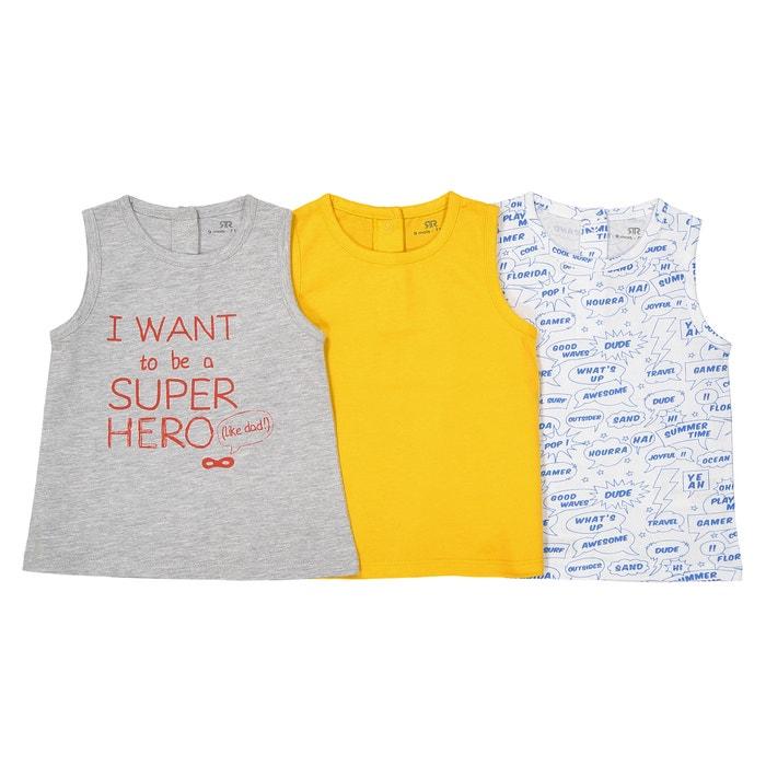Confezione da 3 t-shirt senza maniche - 1 mese - 3 anni  La Redoute Collections image 0