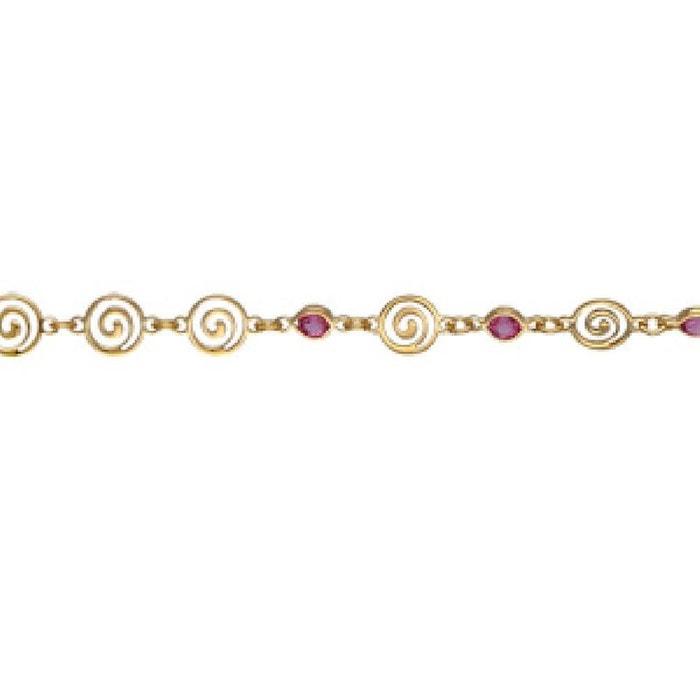 Collier femme longueur réglable: 37 à 43,5 cm spirale oxyde de zirconium rose plaqué or 750 couleur unique So Chic Bijoux | La Redoute