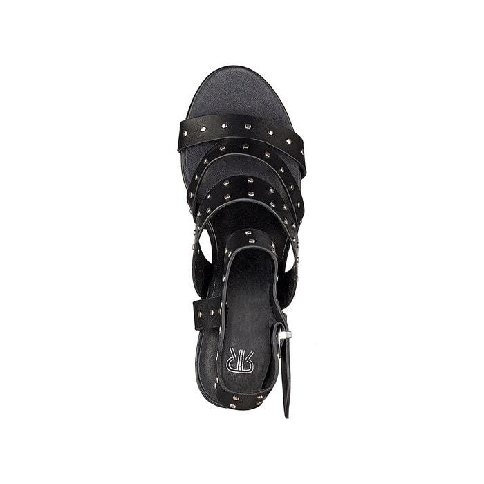Sandales triple bride détail clous noir La Redoute Collections